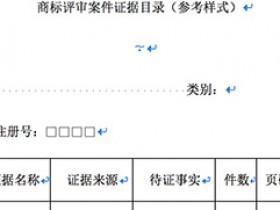 商标评审案件证据目录(参考样式)