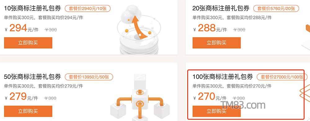 阿里云商标注册批量套餐优惠价270元/件